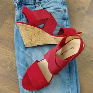 American Eagle red with cork heeled sandals